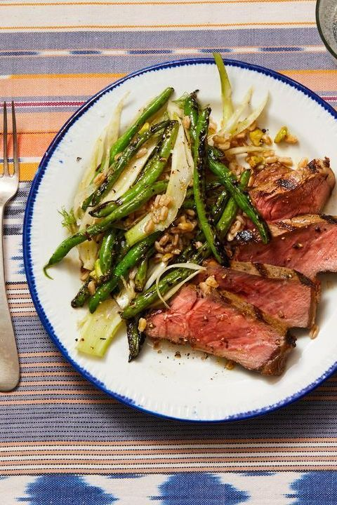steak with grilled green beans, fennel  farro recipe