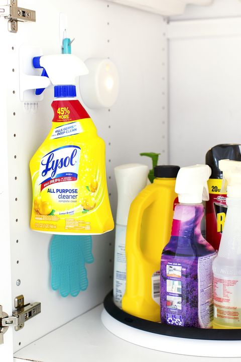 Small Bathroom Storage Ideas - cleaning supplies