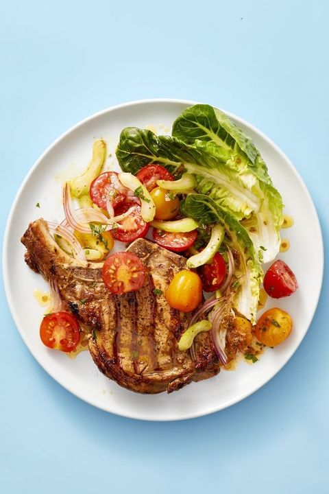 pork chops with bloody mary tomato salad recipe