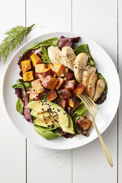 rotisserie chicken recipes - roasted sweet potato and chicken salad