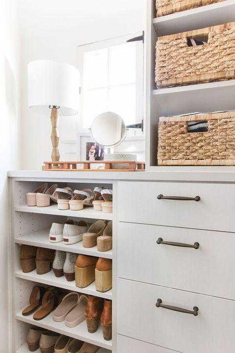 closet organizer ideas - closet vanity with shoes
