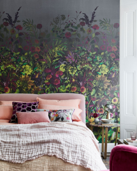 Room, Furniture, Pink, Interior design, Purple, Wall, studio couch, Living room, Home, Bedroom,