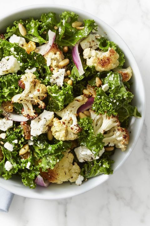healthy fall recipes   kale and roasted cauliflower salad